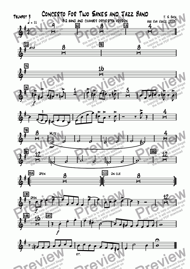 page one of the Trumpet 3 part from Concerto for 2 saxes and orchestra
