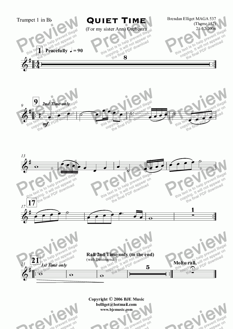 page one of the Trumpet 1 in B^b part from Quiet Time (For my sister Ann) - Orchestra