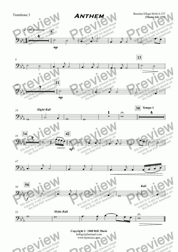 page one of the Trombone 3 part from Anthem (Theme 64) - Orchestra