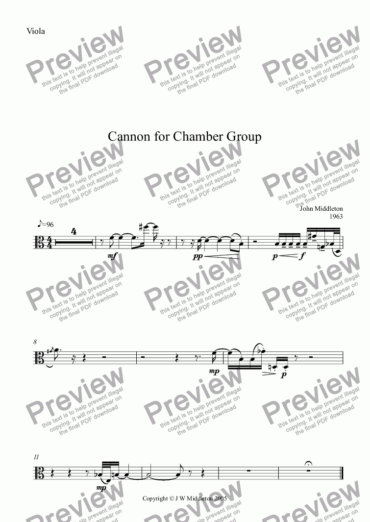page one of the Viola part from Cannon for Chamber Group