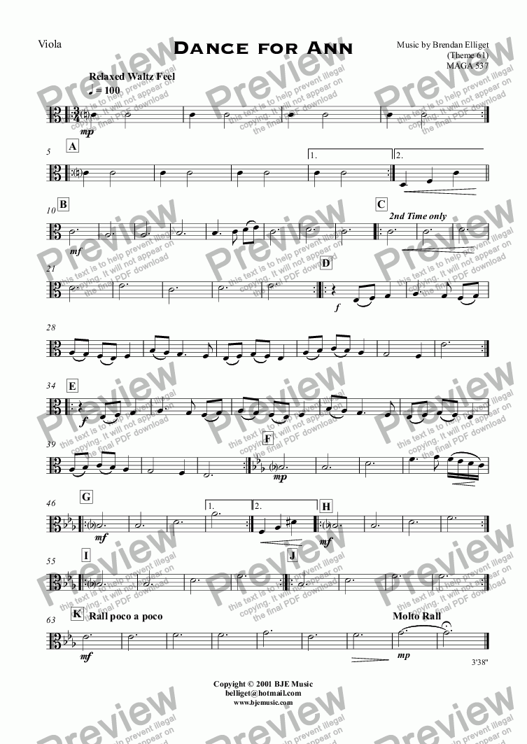 page one of the Viola part from Dance for Ann (Theme 61)  - Orchestra