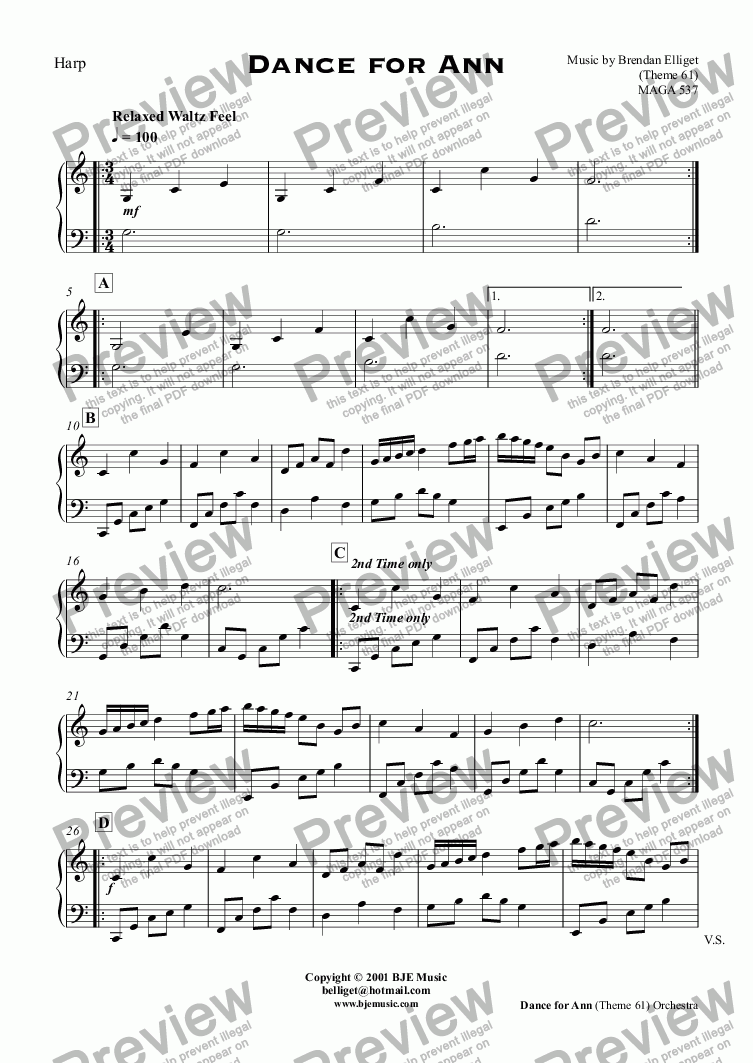 page one of the Harp part from Dance for Ann (Theme 61)  - Orchestra