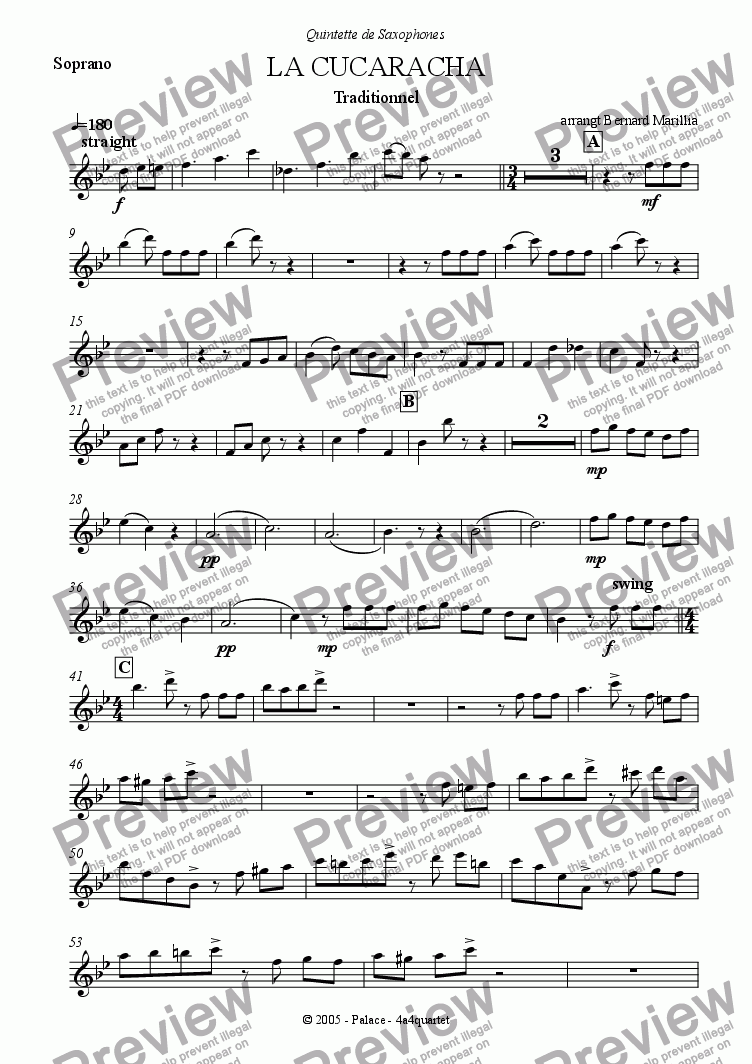 page one of the Soprano sax part from La Cucaracha (Sax Quintet)