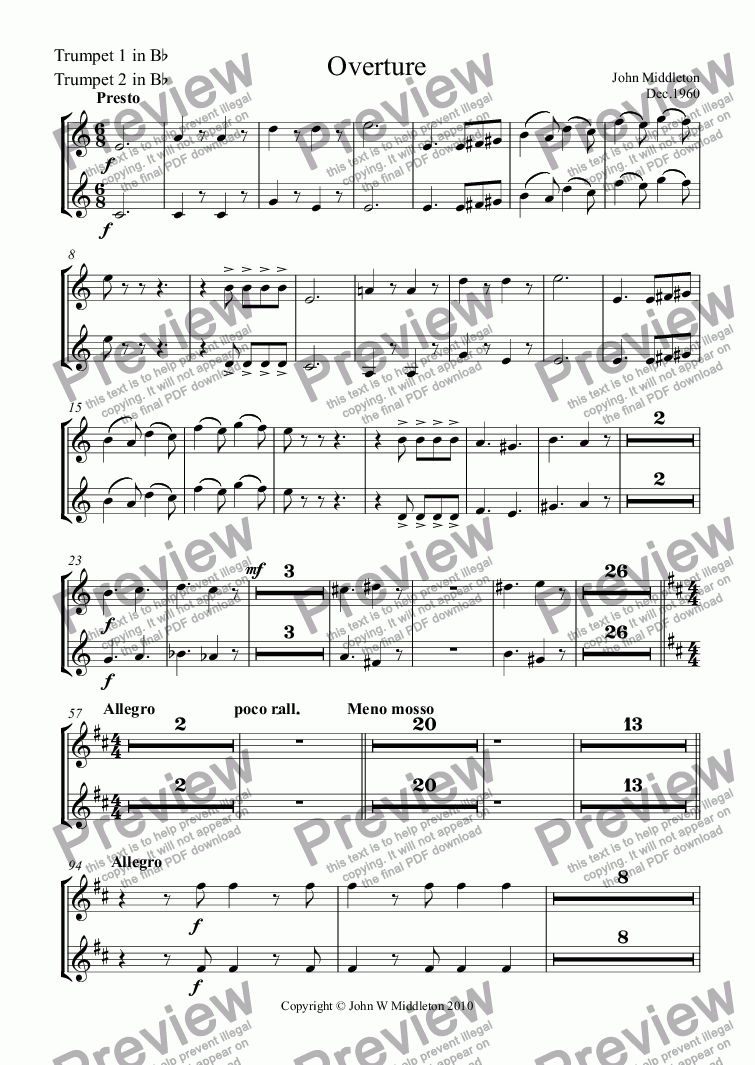 page one of the Trumpets 1&2 in Bb part from Overture
