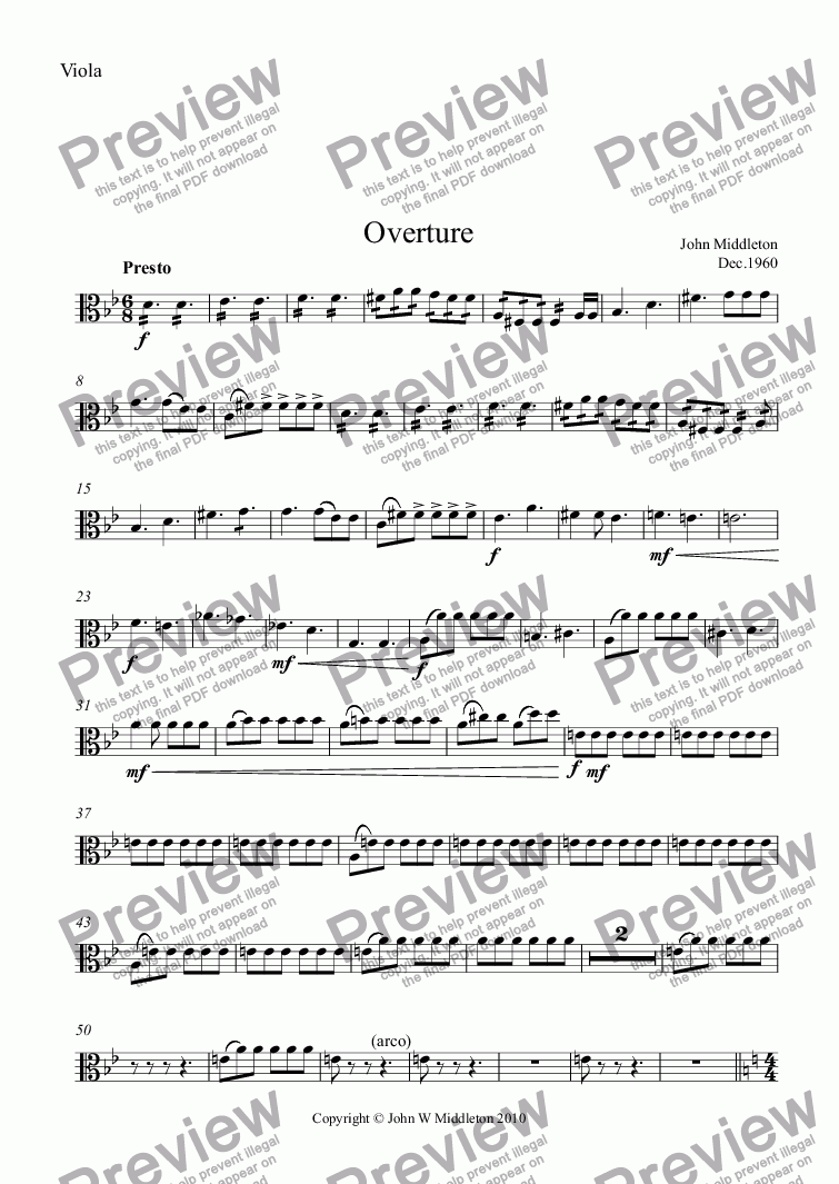 page one of the Viola part from Overture