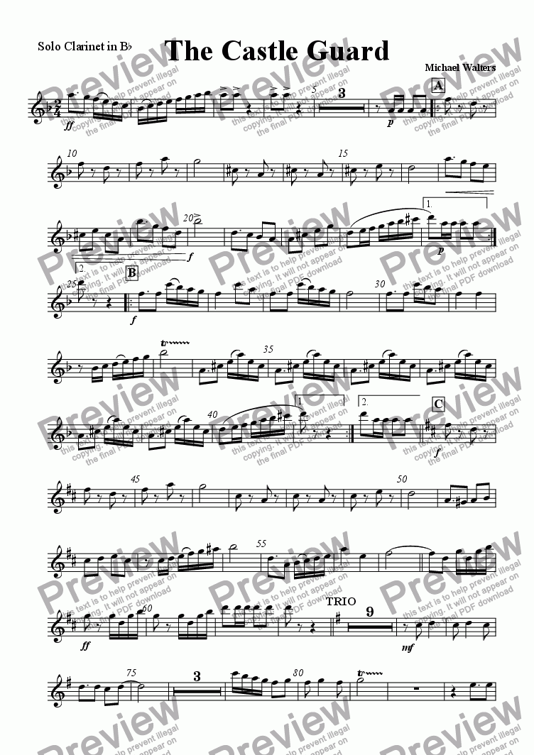 page one of the Solo Clarinet in Bb part from The Castle Guard