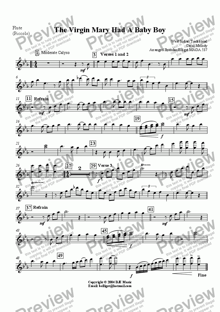 page one of the Flute (Piccolo) part from The Virgin Mary Had A Baby Boy (Christmas)- Concert Band