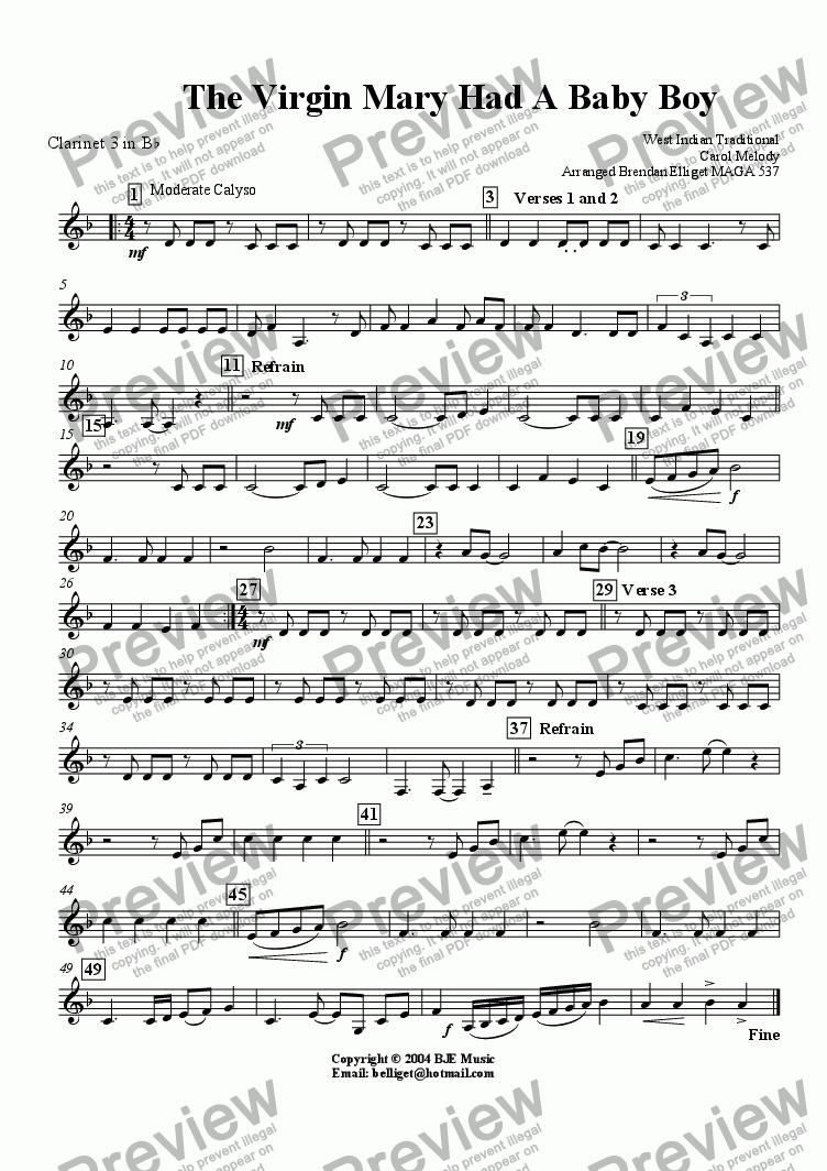 page one of the Clarinet 3 part from The Virgin Mary Had A Baby Boy (Christmas)- Concert Band