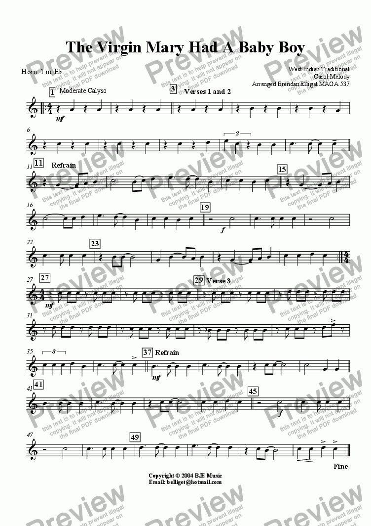 page one of the Eb Horn 1 part from The Virgin Mary Had A Baby Boy (Christmas)- Concert Band