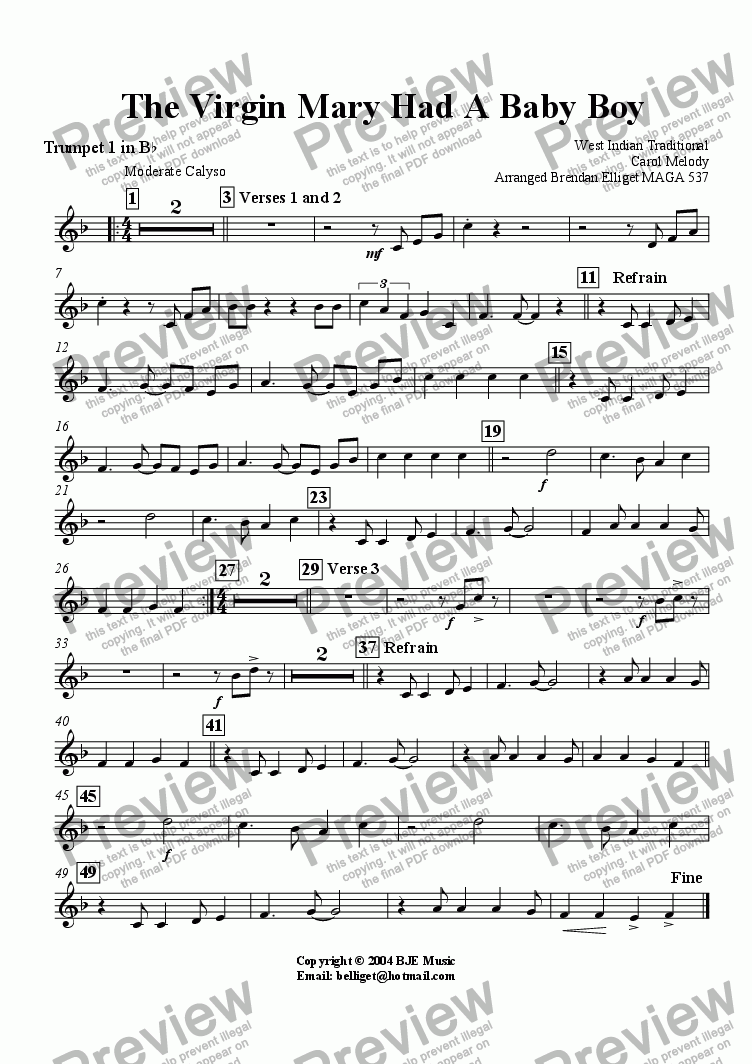 page one of the Trumpet 1 part from The Virgin Mary Had A Baby Boy (Christmas)- Concert Band