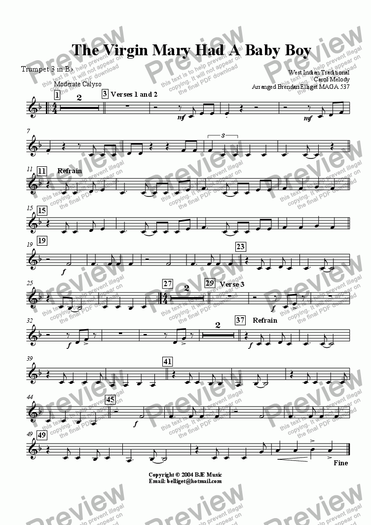page one of the Trumpet 3 part from The Virgin Mary Had A Baby Boy (Christmas)- Concert Band