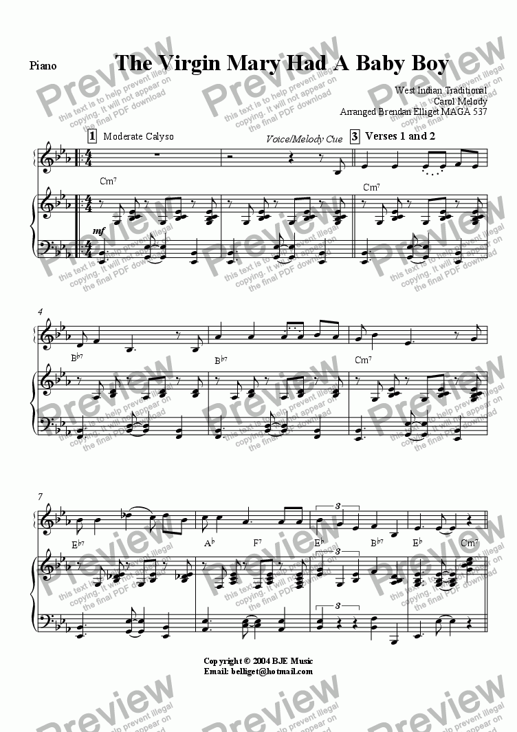 page one of the Piano (With melody cue) part from The Virgin Mary Had A Baby Boy (Christmas)- Concert Band