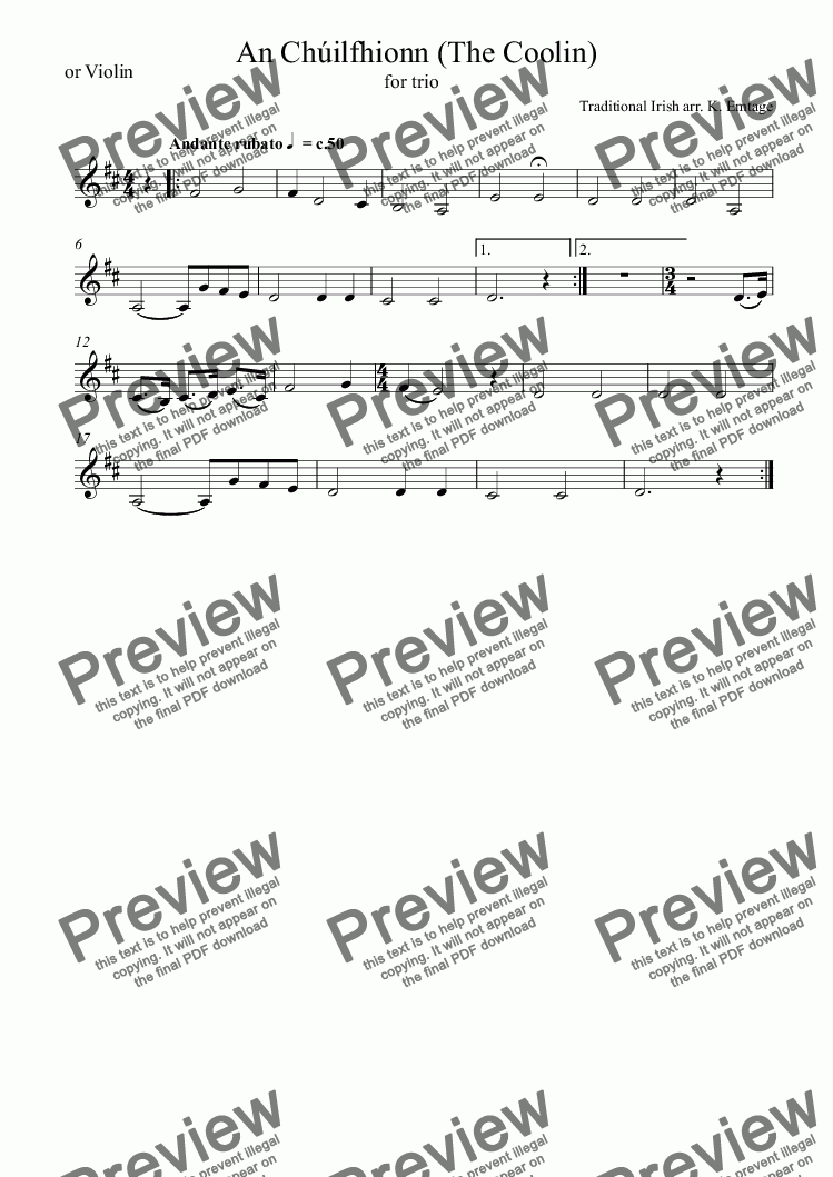 the coolin sheet music pdf