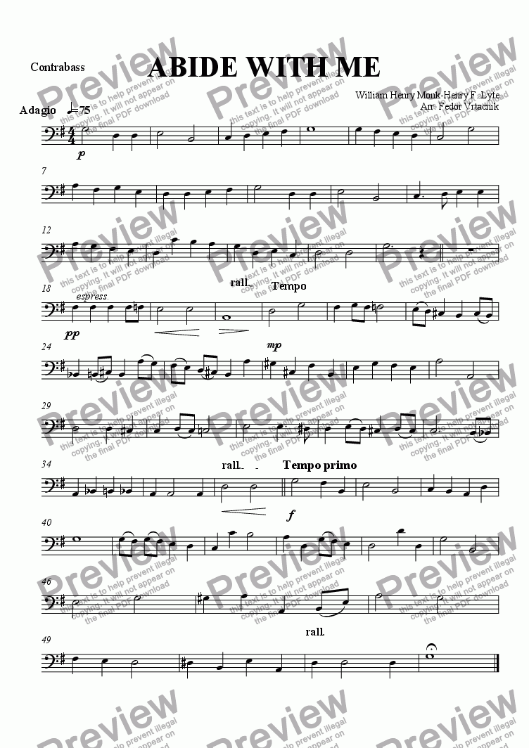 page one of the Contrabass part from ABIDE WITH ME for voice ang string orchestra