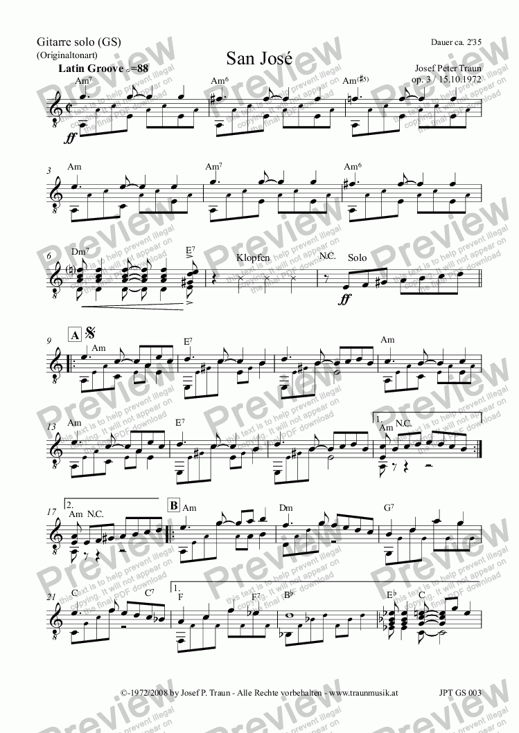 page one of the Gitarre solo (GS) part from San Jose (KM/Score & Parts)