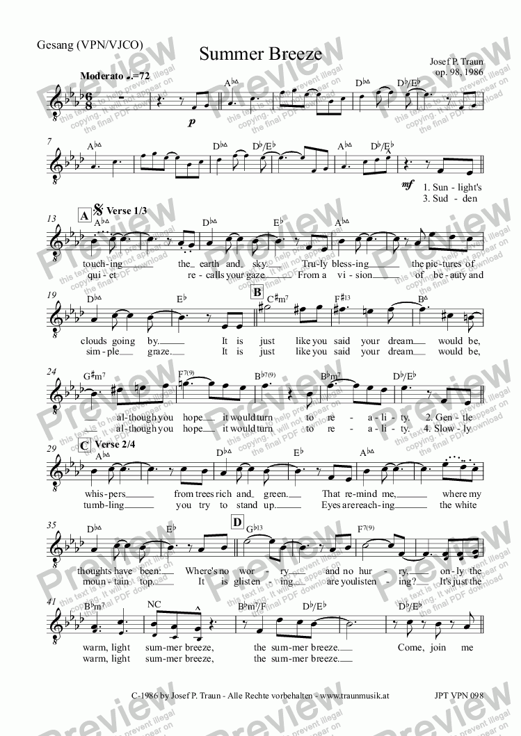 page one of the Gesang (VCO) part from Summer Breeze (VJCO/Score)