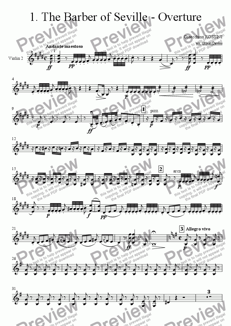 page one of the Violin 2 part from The Barber of Seville - Overture