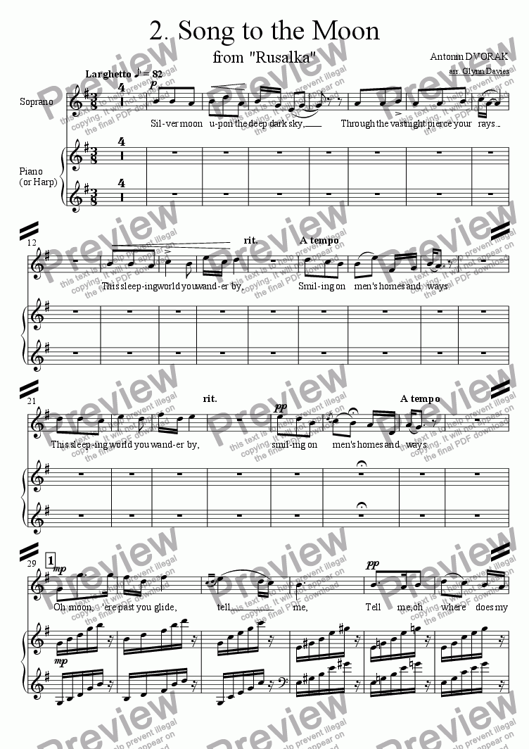 "page one of the Soprano and Piano (or Harp) part from Song to the Moon, from ""Rusalka"""