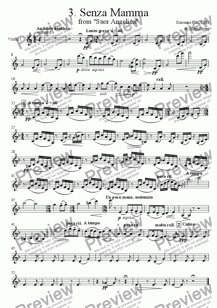 "page one of the Violin 1 part from Senza Mamma, from ""Suor Angelica"""