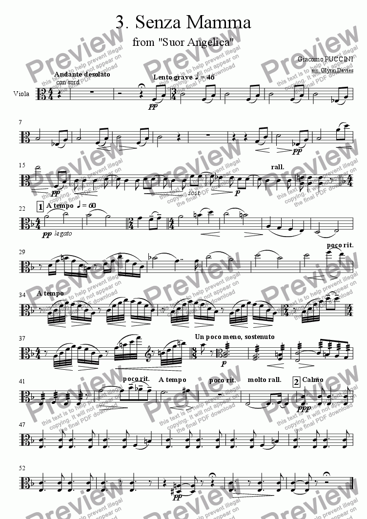 "page one of the Viola part from Senza Mamma, from ""Suor Angelica"""