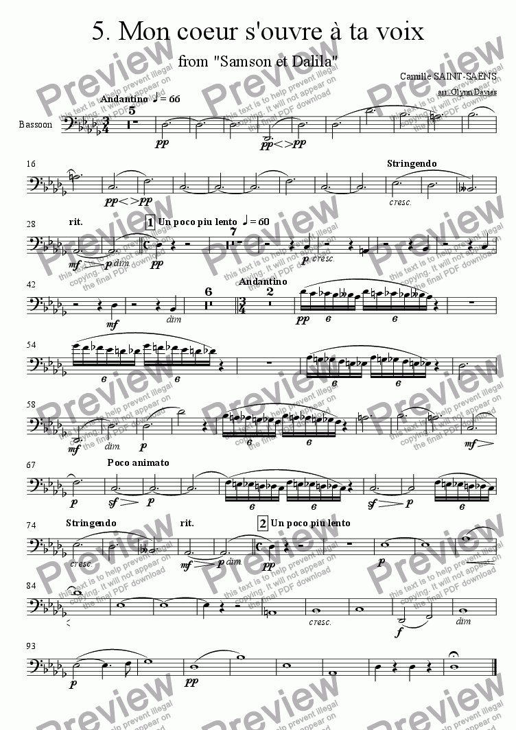 "page one of the Bassoon part from Mon coeur s'ouvre a ta voix, from ""Samson et Dalila"""