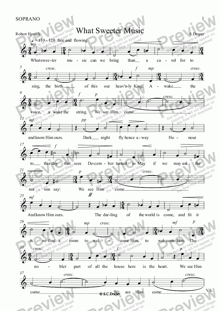page one of the SOPRANO part from What Sweeter Music
