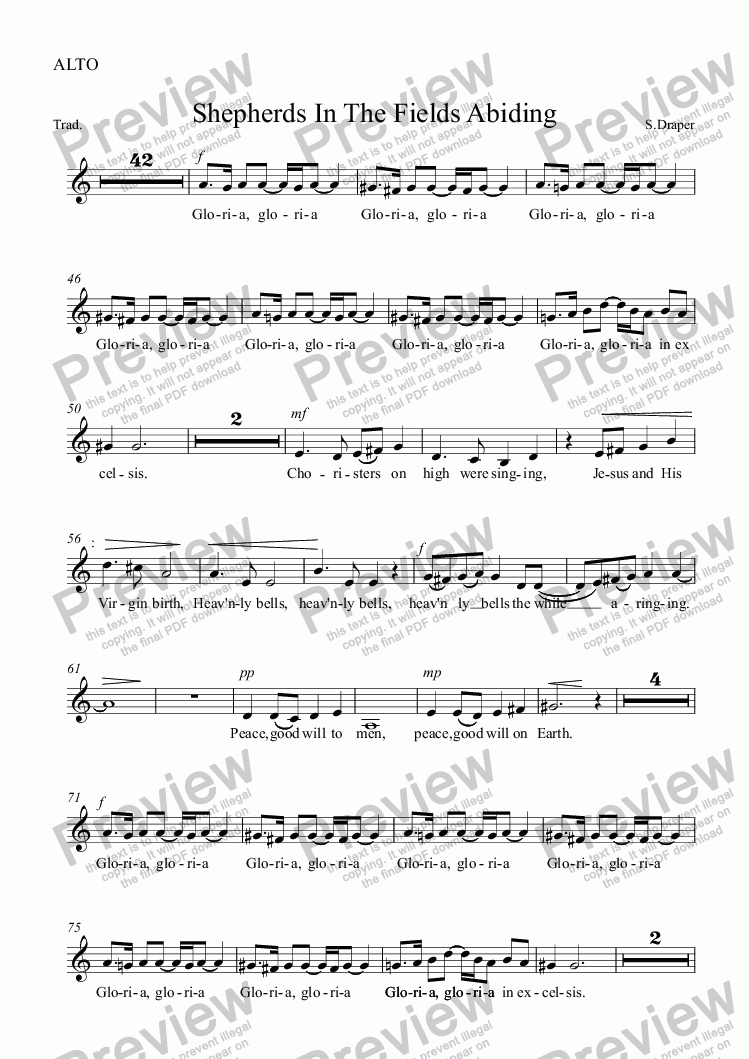 page one of the ALTO part from Shepherds In The Fields Abiding