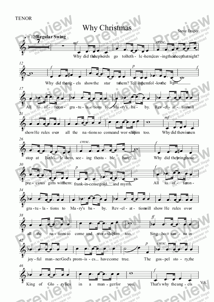 page one of the TENOR part from Why Christmas