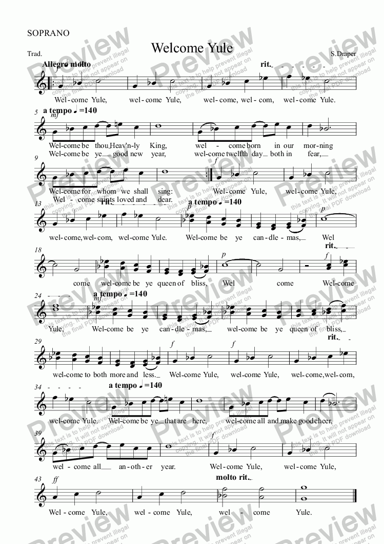 page one of the SOPRANO part from Welcome Yule