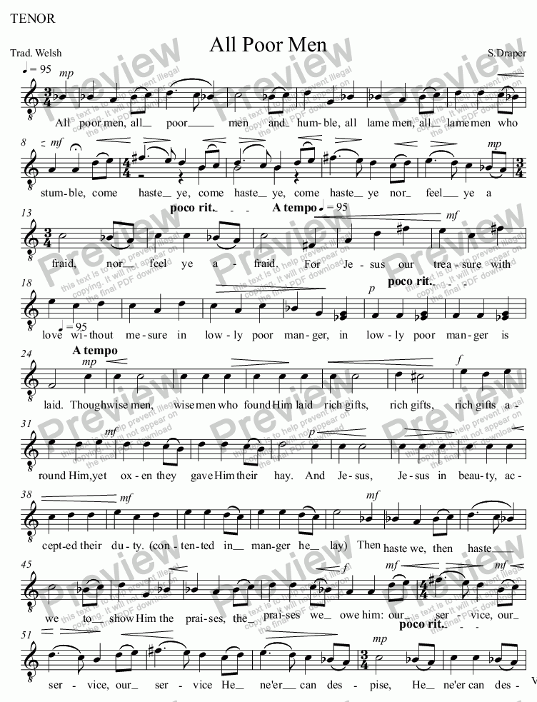 page one of the TENOR part from All Poor Men