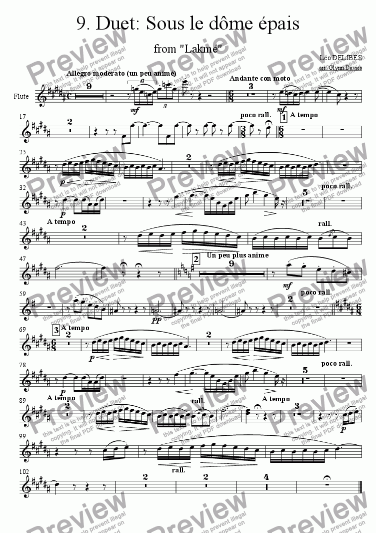 "page one of the Flute part from Duet: Sous le dome epais, from ""Lakme"""