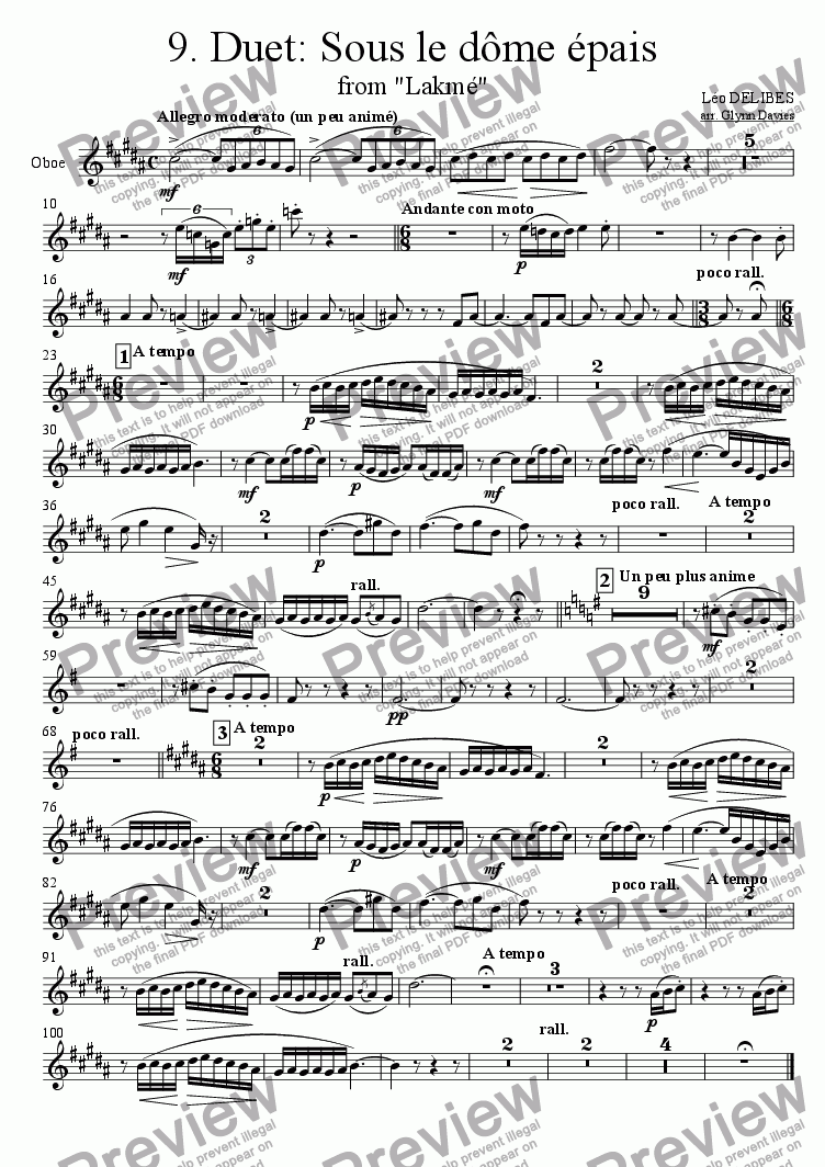 "page one of the Oboe part from Duet: Sous le dome epais, from ""Lakme"""