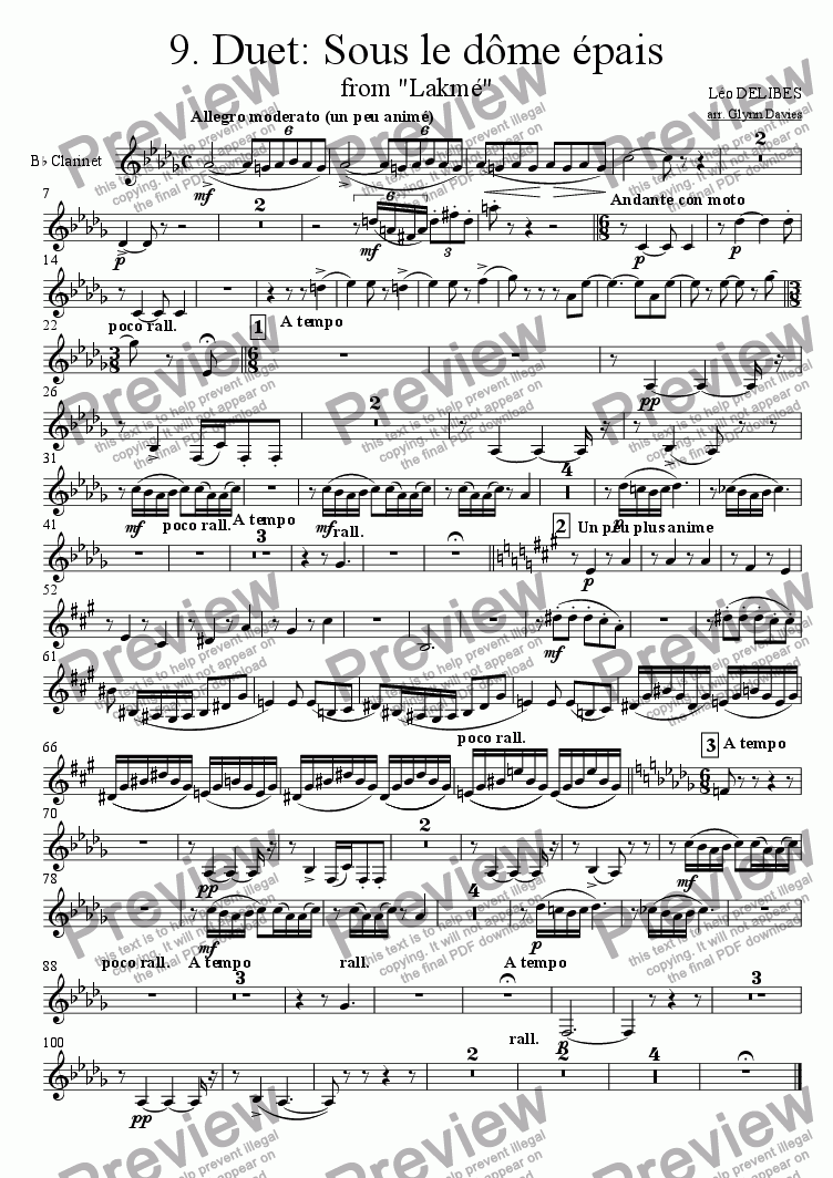 "page one of the Clarinet in Bb part from Duet: Sous le dome epais, from ""Lakme"""