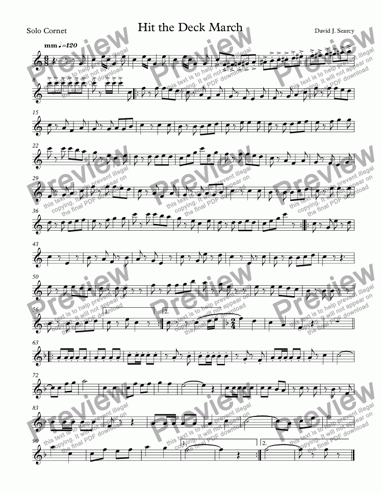page one of the Solo Cornet part from Hit the Deck March