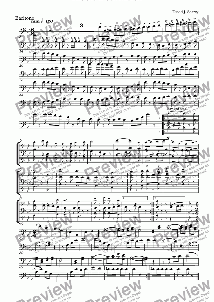 page one of the Baritone part from Hit the Deck March