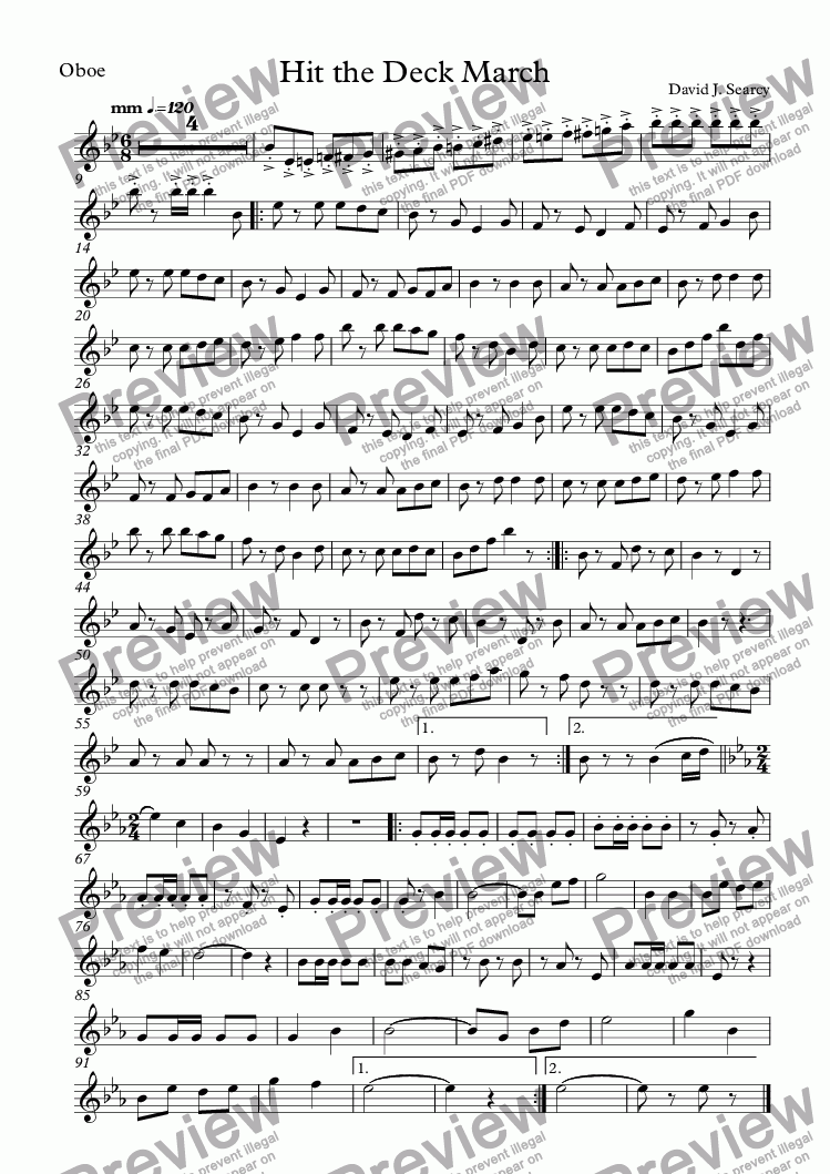page one of the Oboe part from Hit the Deck March