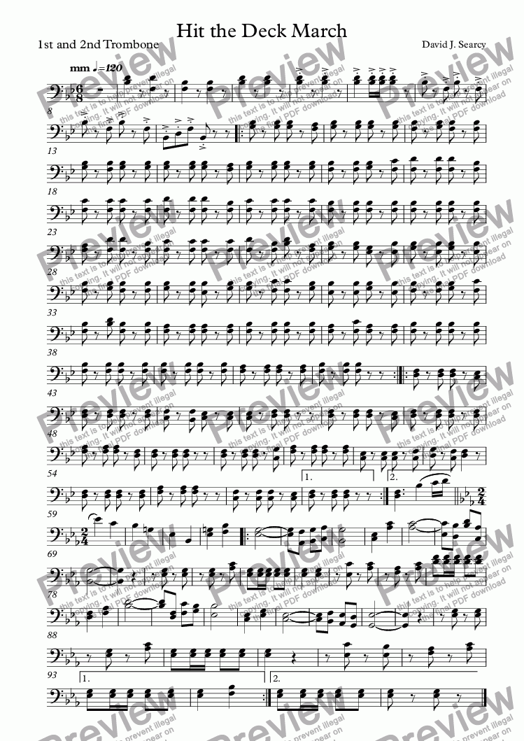 page one of the 1st and 2nd Trombone part from Hit the Deck March