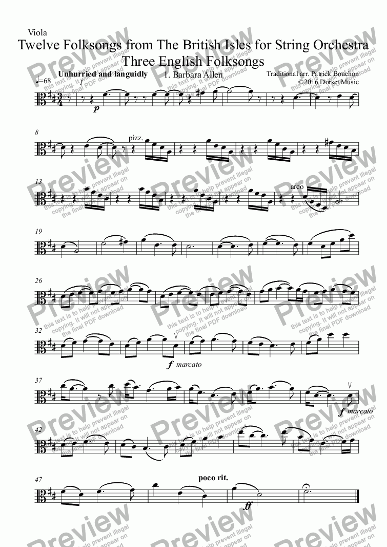 page one of the Violin II part from Three English Folksongs for Strings 1. Barbara Allen