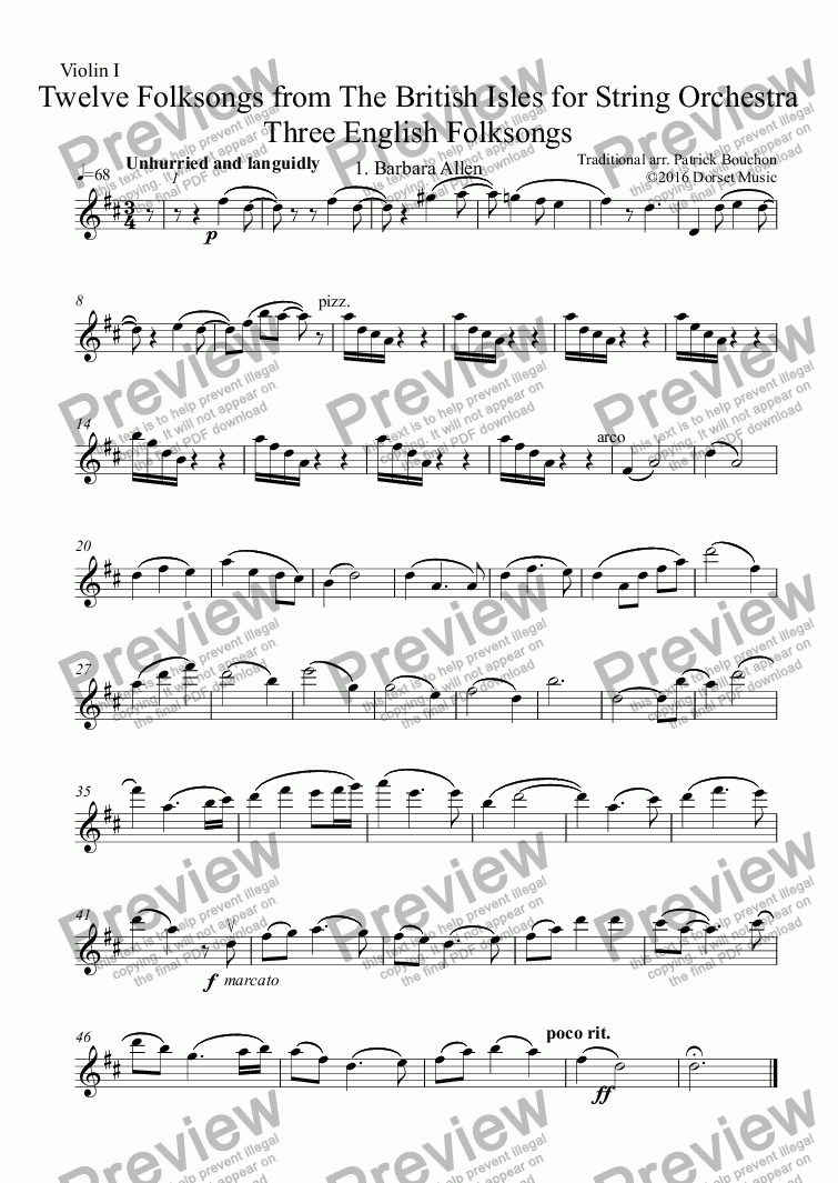 page one of the Violin I part from Three English Folksongs for Strings 2. The Oak and the Ash