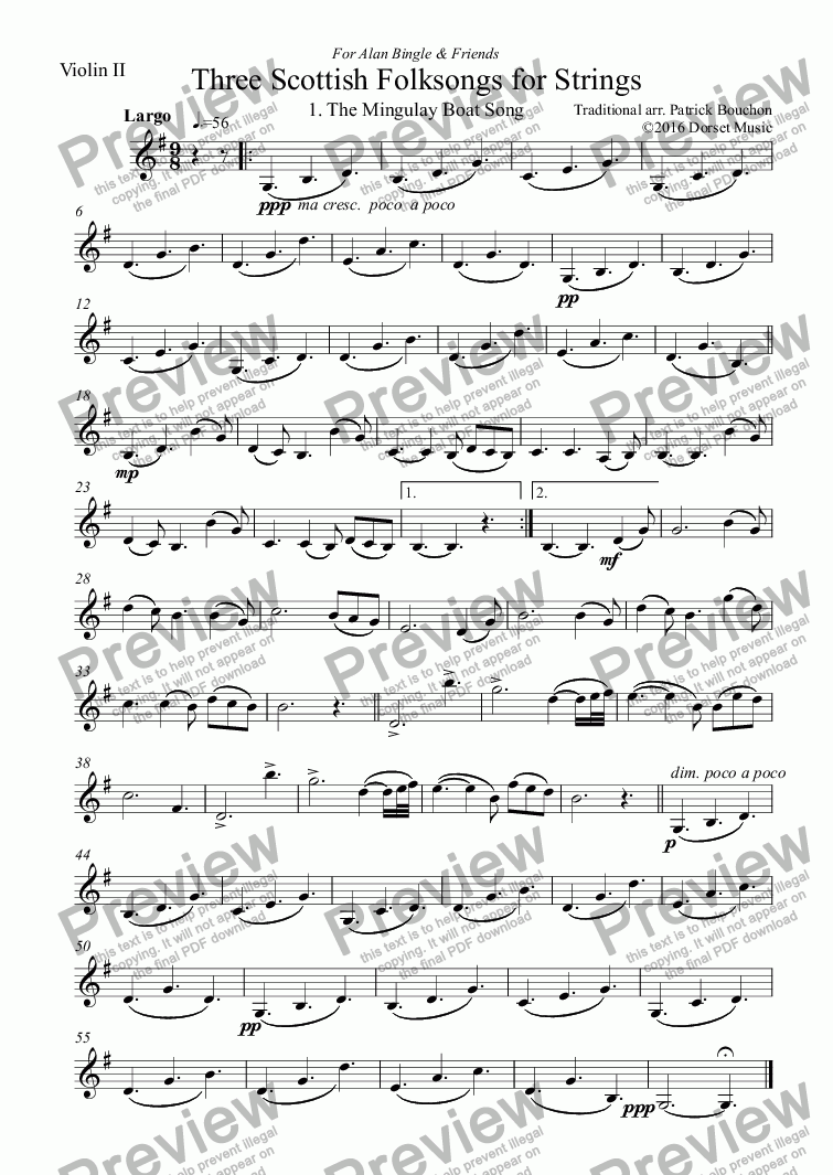 page one of the Violin II part from Three Scottish Folksongs for Strings 1. The Mingulay Boat-song