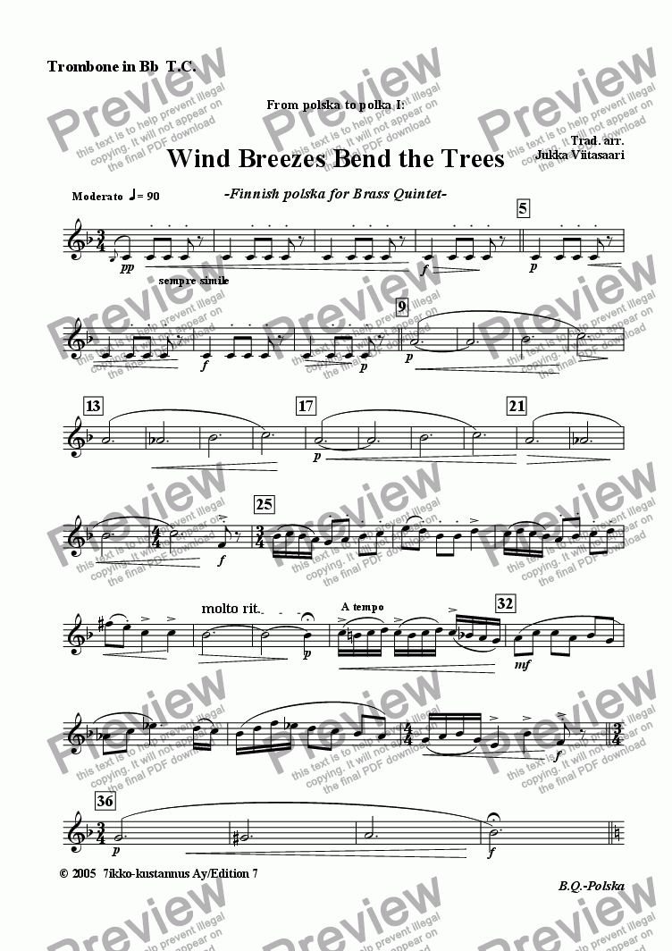 page one of the Trombone in Bb TC part from Wind Breezes Bend the Trees (brass quintet)