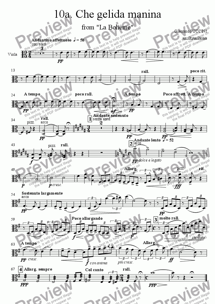 "page one of the Viola part from Che gelida manina, from ""La boheme"""