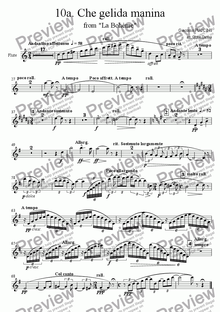 "page one of the Flute part from Che gelida manina, from ""La boheme"""