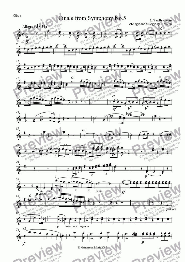 page one of the Oboe part from Finale from Symphony No.5