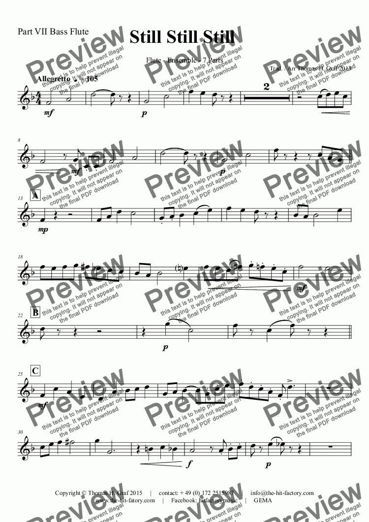 page one of the Part VII Bass Flute part from Still Still Still - Christmas song  - 7 Parts - Flute Ensemble