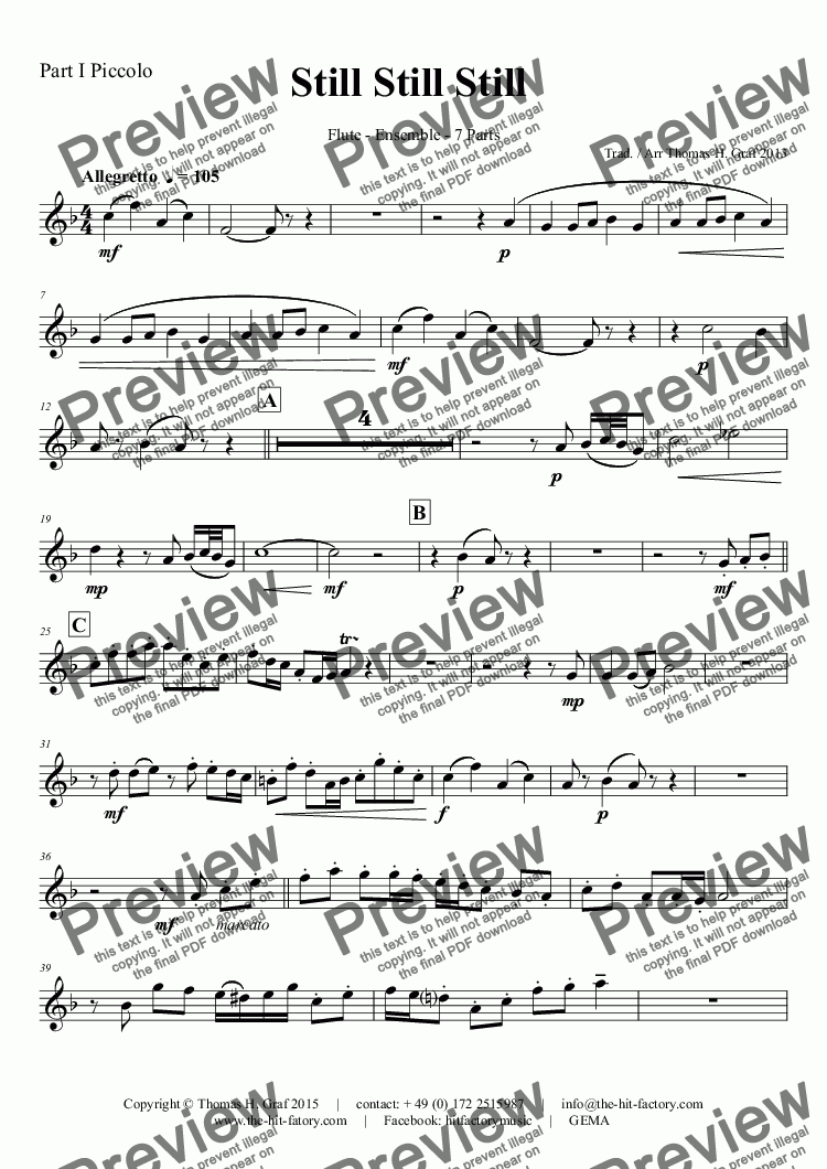 page one of the Part I Piccolo part from Still Still Still - Christmas song  - 7 Parts - Flute Ensemble