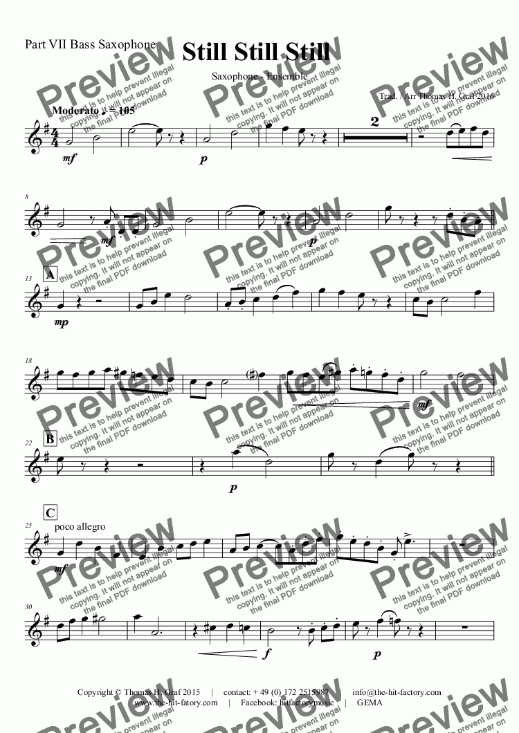 page one of the Part VII Bass Saxophone part from Still Still Still - Christmas song  - 7 Parts - Saxophone Ensemble