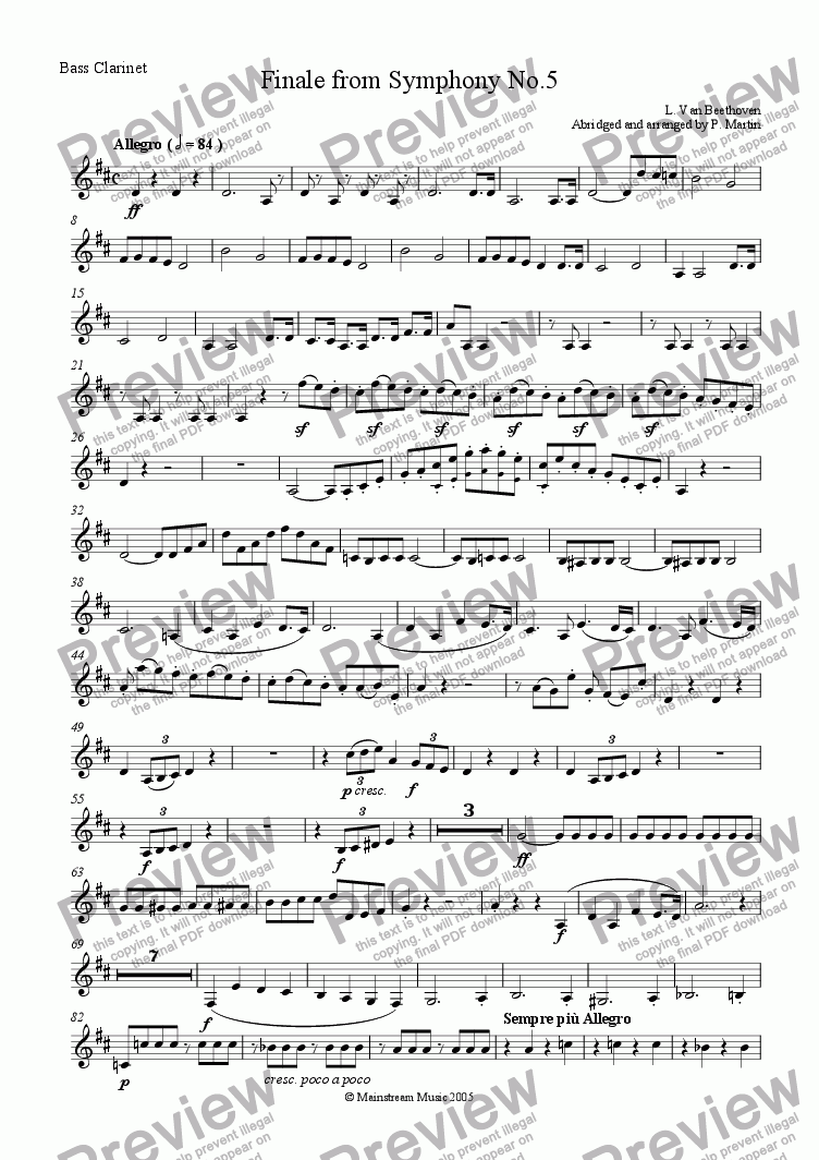 page one of the Bass Clarinet part from Finale from Symphony No.5