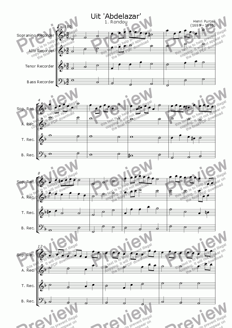 page one of the Just the first (and famous) part - the Rondou part from Five pieces from the Abdelazer Suite