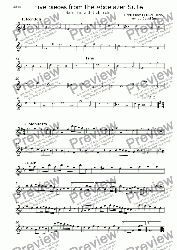 page one of the --> Bass line with treble clef part from Five pieces from the Abdelazer Suite